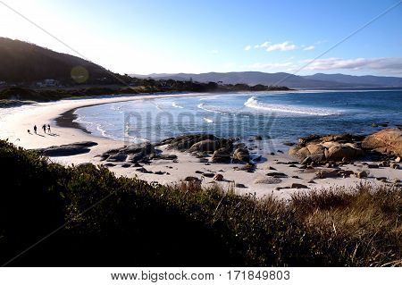 Bicheno beach in Tasmania, Australia with beautiful blue water