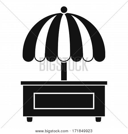 Shopping counter with umbrella icon. Simple illustration of shopping counter with umbrella vector icon for web