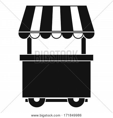 Food trolley with awning icon. Simple illustration of food trolley with awning vector icon for web