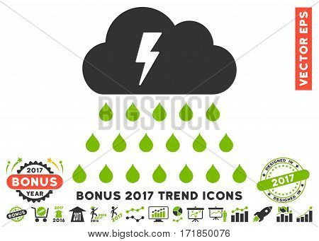 Eco Green And Gray Thunderstorm Rain Cloud icon with bonus 2017 trend elements. Vector illustration style is flat iconic bicolor symbols white background.