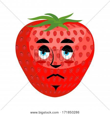 Strawberry Sad Emoji. Red Berry Sorrowful Emotion Isolated