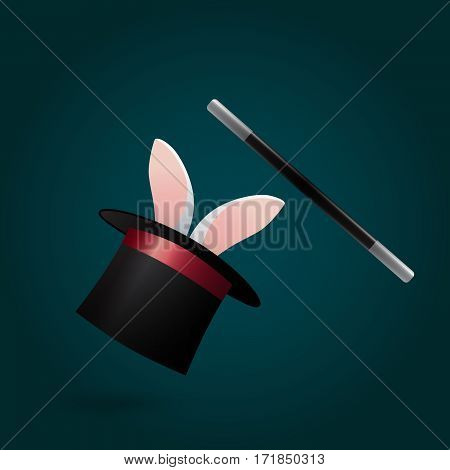 Rabbit in magic hat and wand. Circus performance. Illustration.