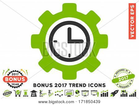 Eco Green And Gray Time Setup Gear icon with bonus 2017 trend symbols. Vector illustration style is flat iconic bicolor symbols white background.