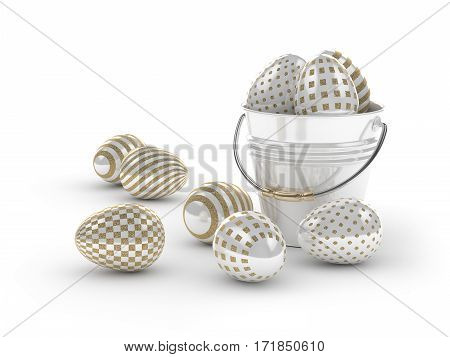 3D Render Of Easter Glitter And Pearl Eggs And Bucket