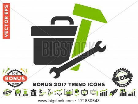 Eco Green And Gray Toolbox pictograph with bonus 2017 trend pictograms. Vector illustration style is flat iconic bicolor symbols white background.