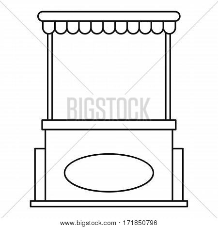 Street shopping counter with tent icon. Outline illustration of street shopping counter with tent vector icon for web