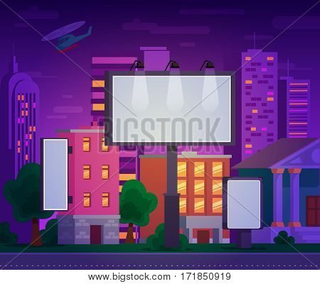 illustration of an advertising billboard on the background of the urban landscape