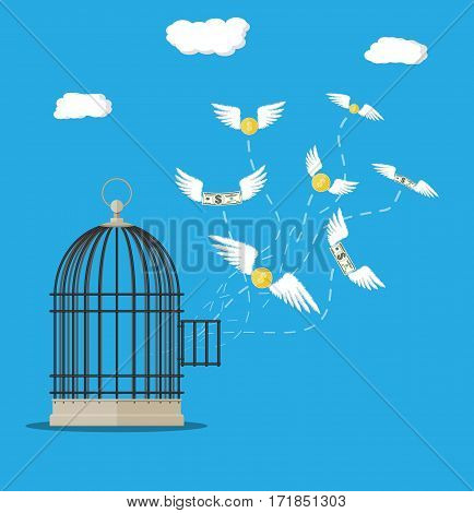 Open cage with flying dollar bills and coins. Losing money concept. Vector illustration in flat style