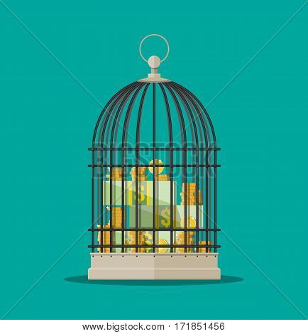 Coins and dollar bills stacks in cage. Financial savings. Vector illustration in flat style