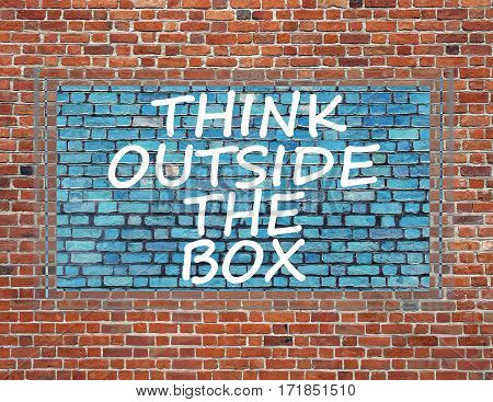 Sign on brick wall to thinking outside the box great brilliant idea new innovation