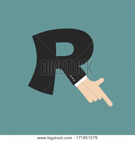 R Letter Businessman Hand Font. It Shows Finger Print. Arm Symbol Alphabet. Sign Of Abc