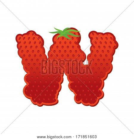 Letter W Strawberry Font. Red Berry Lettering Alphabet. Fruits Abc