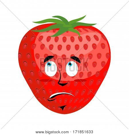 Strawberry Surprised Emoji. Red Berry Astonished Emotion Isolated