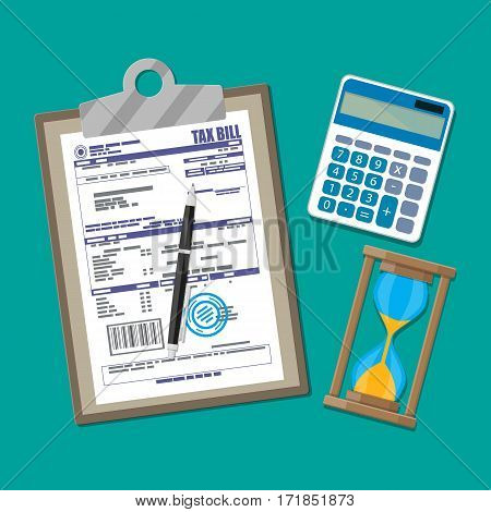 Clipboard with tax declaration paper document, pen, calculator, sand clocks. Tax day, deadline. Vector illustration in flat style