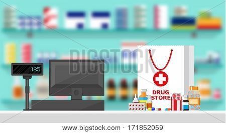Modern interior pharmacy or drugstore. Medicine products on shelves. Cash register. Shopping bag with different medical pills and bottles, healthcare and shopping. Vector illustration in flat style