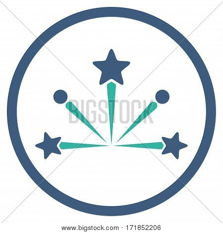 Fireworks Bang rounded icon. Vector illustration style is flat iconic bicolor symbol inside circle cobalt and cyan colors white background.