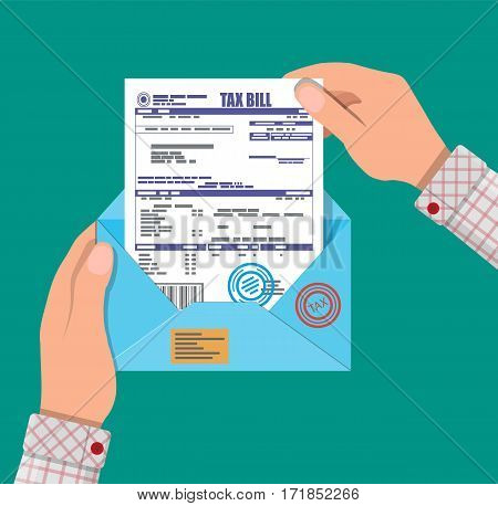 Hands holds envelope with tax declaration paper document. Tax day. Vector illustration in flat style