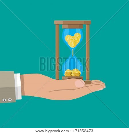 Old style hourglass clocks with dollar coins inside in hand. Time is money concept. Vector illustration. Fat style clocks