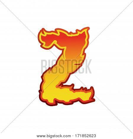 Letter Z Fire. Flames Font Lettering. Tattoo Alphabet Character. Fiery Sign Alphabet