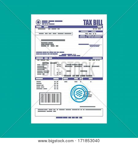 Tax declaration paper document. Vector illustration in flat style