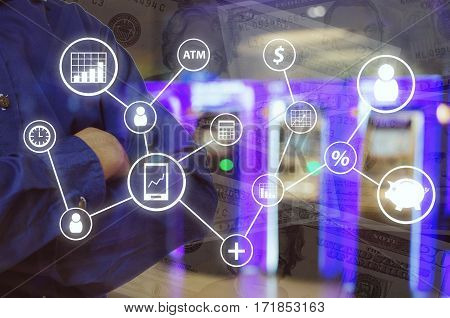 Double exposure of man and cross one's arm and finance icon financial concept with abstract blurred background of ATMs Machine for withdraw or deposit cash money and dollar banknote, color tone effect