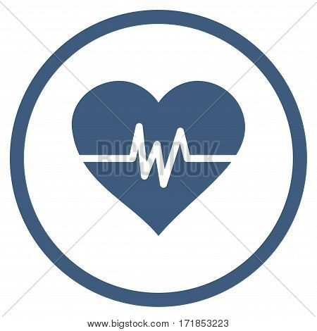Heart Pulse rounded icon. Vector illustration style is flat iconic bicolor symbol inside circle cobalt and cyan colors white background.