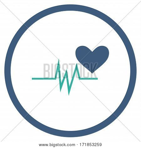Heart Pulse Signal rounded icon. Vector illustration style is flat iconic bicolor symbol inside circle cobalt and cyan colors white background.
