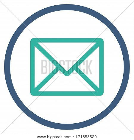 Letter rounded icon. Vector illustration style is flat iconic bicolor symbol inside circle cobalt and cyan colors white background.