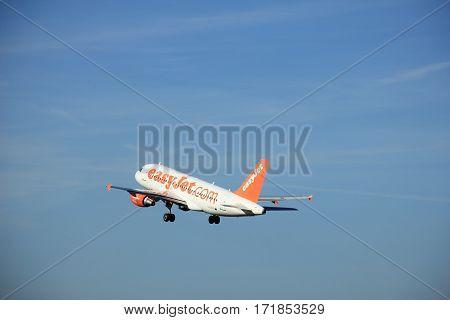 Amsterdam the Netherlands - June 9th 2016: G-EZFT easyJet Airbus A319-111 takeoff from Polderbaan runway destination Prague Czech republik