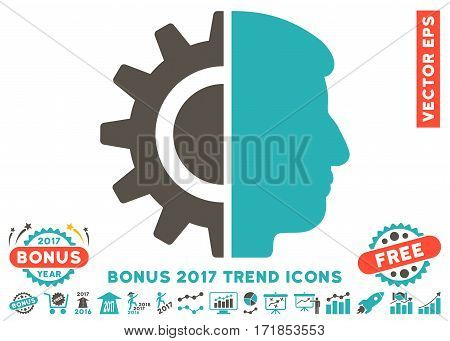 Grey And Cyan Android Robotics pictograph with bonus 2017 trend pictograph collection. Vector illustration style is flat iconic bicolor symbols white background.