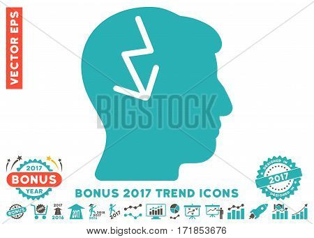 Grey And Cyan Brain Electric Strike pictogram with bonus 2017 year trend pictograms. Vector illustration style is flat iconic bicolor symbols white background.