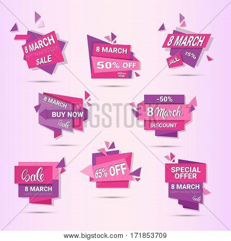 8 March International Women Day Sale Shopping Discount Set Flat Vector Illustration