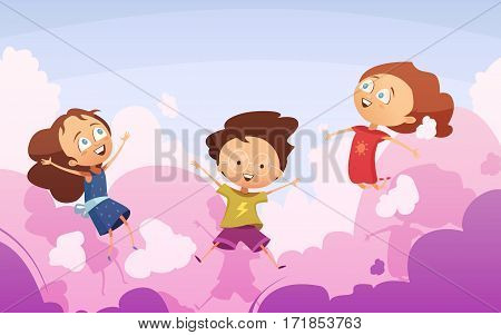 Active company of playful preschool kids jumping against sky in rose clouds flat vector illustration in cartoon style