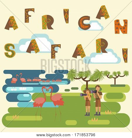 African safari concept with people and animals. Flat isolated eps10 vector illustration. Eco tourism
