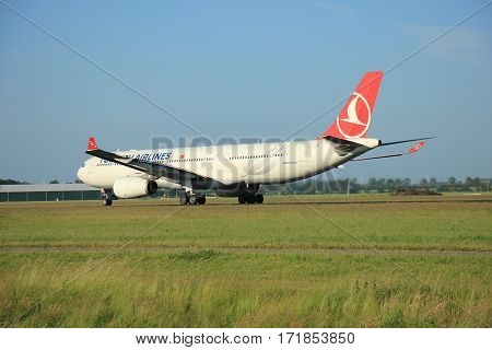 Amsterdam the Netherlands - June 9th 2016: TC-JNL Turkish Airlines Airbus A330-343 departing from Polderbaan runway Schiphol destination Istanbul Turkey