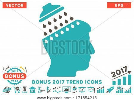 Grey And Cyan Brain Shower pictograph with bonus 2017 trend images. Vector illustration style is flat iconic bicolor symbols white background.