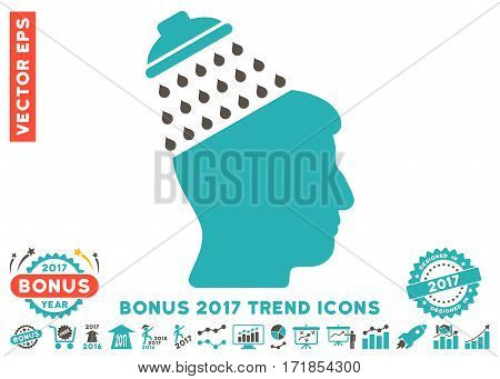 Grey And Cyan Brain Shower icon with bonus 2017 year trend pictograms. Vector illustration style is flat iconic bicolor symbols white background.