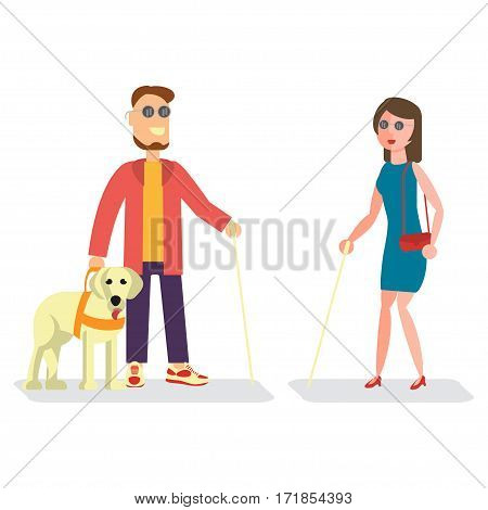 Blind man with walking stick and woman with guide dog. Isolated Vector illustration of Disabled people