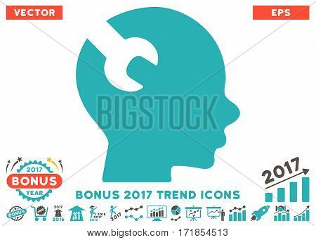Grey And Cyan Brain Wrench Tool pictograph with bonus 2017 year trend images. Vector illustration style is flat iconic bicolor symbols white background.