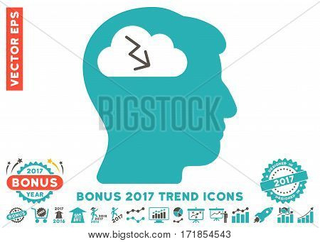 Grey And Cyan Brainstorming pictogram with bonus 2017 trend pictograms. Vector illustration style is flat iconic bicolor symbols white background.