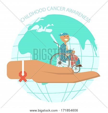 International Childhood cancer day banner. The hand symbolizes help and support to sick children. Child oncology disease concept in vector flat design