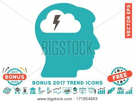 Grey And Cyan Brainstorming icon with bonus 2017 year trend symbols. Vector illustration style is flat iconic bicolor symbols white background.