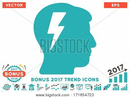 Grey And Cyan Brainstorming icon with bonus 2017 trend design elements. Vector illustration style is flat iconic bicolor symbols white background.