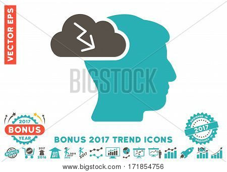 Grey And Cyan Brainstorming pictogram with bonus 2017 year trend icon set. Vector illustration style is flat iconic bicolor symbols white background.