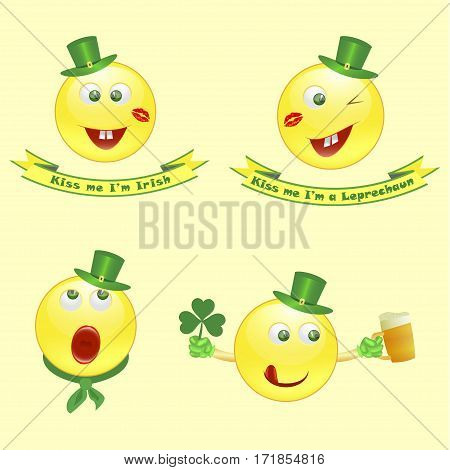 Set of Vector smile icons on Saint Patrick's Day character leprechaun with green hat and funny legend, sing with me. Vector illustration. eps10