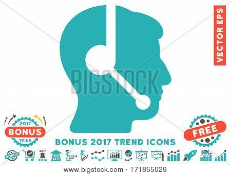 Grey And Cyan Call Center Operator pictogram with bonus 2017 trend icon set. Vector illustration style is flat iconic bicolor symbols white background.