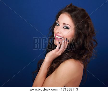 Beautiful Laughing Joying Makeup Woman With Long Volume Hair Style And Manicured Nails On The Face O
