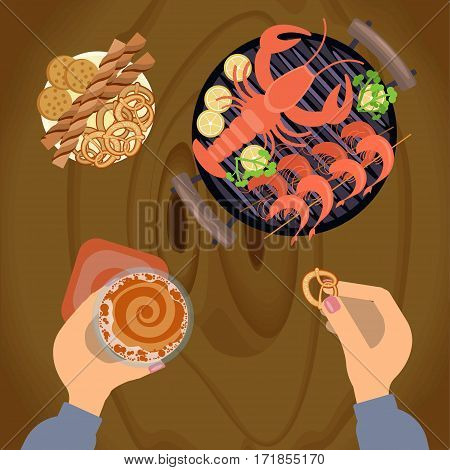 Person is eating Grilled sea food with glass of beer on wooden table. Top view Vector illustration eps 10