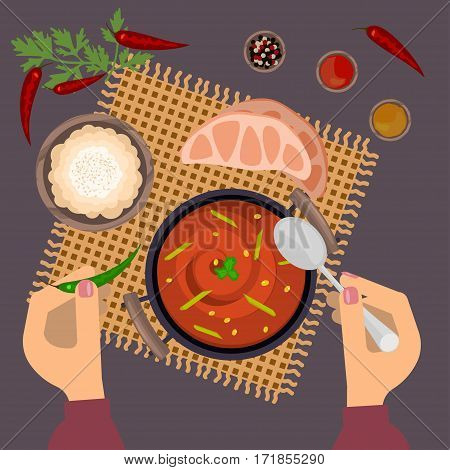Person is eating pungent curry on wooden table. Top view Vector illustration eps 10