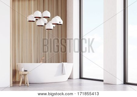 Bathroom With Lamps, Light Wood, Corner